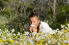 Woman suffering Hay Fever. A mature woman in field of wildflowers is suffering hay fever and is snoozing into a tissue Royalty Free Stock Images