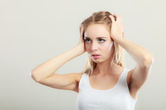 Woman suffering from head pain Royalty Free Stock Images