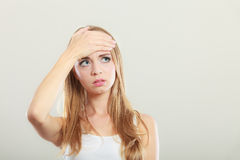 Woman suffering from head pain Stock Photos