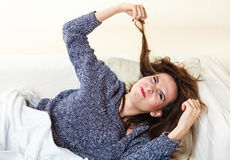 Woman suffering from head pain taking power nap Stock Photos