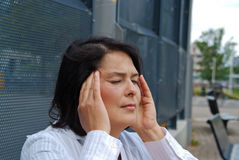 A woman suffering from headache Royalty Free Stock Photography