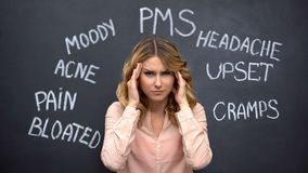 Free Woman Suffering Headache Due To Imaginary Problems In Pms, Hormone Imbalance Stock Photography - 160850772