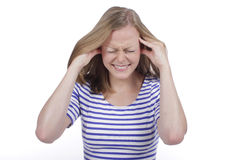 Woman suffering from headache Stock Images