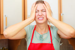 Woman suffering from headache migraine pain. Royalty Free Stock Photo