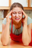 Woman suffering from headache migraine pain. Stock Photography