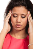 Woman suffering from headache migraine pain. Stock Photos