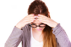 Woman suffering from headache migraine pain Royalty Free Stock Image