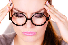 Woman suffering from headache migraine pain Stock Photography