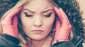 Woman suffering from headache pain. Cold. Royalty Free Stock Images