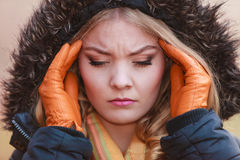 Woman suffering from headache pain. Cold. Royalty Free Stock Photo