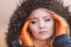Woman suffering from headache pain. Cold. Royalty Free Stock Photography