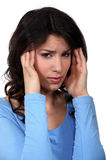 Woman suffering from headache Stock Photos