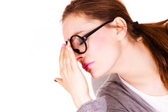 Woman suffering from headache sinus pain. Woman tired businesswoman overworked young female suffering from head sinus pain isolated on white. Headache, migraine Royalty Free Stock Photography