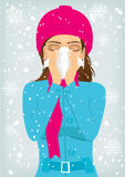 Woman suffering influenza and runny nose Royalty Free Stock Photography