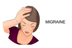 Woman suffering from migraine. Illustration of a woman suffering from migraine Stock Image