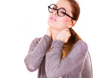 Woman suffering from neck pain Stock Image