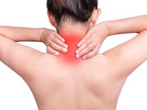 Woman suffering from neck pain using hand massage painful neck stock image