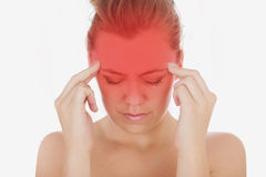 Woman suffering from severe headache Stock Images