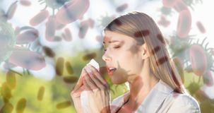 Woman suffering from sneezing and bacteria infection cells 4k. Digital composite video of woman suffering from sneezing and bacteria infection cells 4k stock video footage