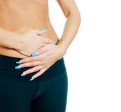 Woman suffering from stomach ache. Stock Images