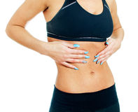 Woman suffering from stomach ache. Stock Photos