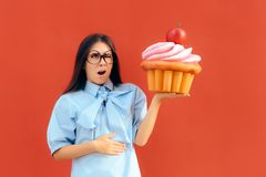 Woman Suffering Stomach Ache After Eating Too Much Cupcake Stock Photos