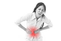 Woman suffering from stomach pain, menstruation cramp. White isolated background stock images
