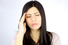 Woman suffering strong migraine Royalty Free Stock Photography