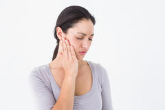 Woman suffering from teeth pain Stock Photos