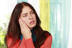 Woman suffering from tooth ache Stock Photo