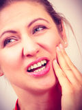 Woman suffering from toothache tooth pain. Stock Photography