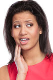 Woman suffering from toothache tooth pain. Royalty Free Stock Images