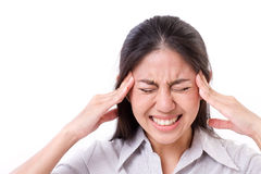 Woman suffers from acute headache, migraine Stock Images