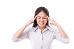 Woman suffers from headache, migraine Royalty Free Stock Image