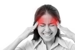 Woman suffers from headache, migraine Royalty Free Stock Photography