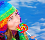 Woman with sugar candy Stock Photo