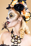 Woman with sugar skull makeup Stock Photos