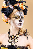 Woman with sugar skull makeup Royalty Free Stock Photography