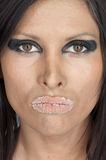 Woman with sugary lips Stock Photos