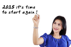 Woman suggests to start again Royalty Free Stock Image