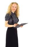 Woman in a suit with clipboard Stock Image