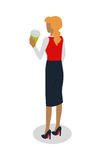 Woman in Suit Drinks Coffee. Vector Stock Photography
