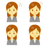 Woman in suit, expressions. File Royalty Free Stock Photography