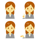 Woman in suit, expressions Royalty Free Stock Images