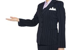Woman in suit holding his hand before him Royalty Free Stock Images