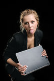 Woman in a suit with the laptop Stock Photo