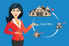 Woman in suit offering house. House selection, best offer, real estate concept vector illustration. Model of house with female broker Royalty Free Stock Photos