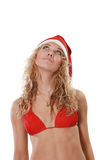 Woman in a suit santa Stock Photo