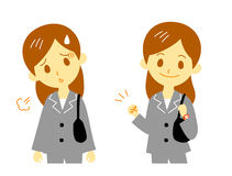 Woman in suit, tired, cheer up. Woman in suit, working, tired and cheer up vector illustration