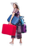 Woman with suitacases Royalty Free Stock Photo